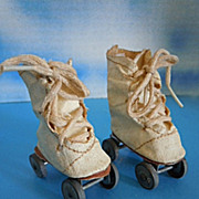"1950's Vintage Oil Cloth Roller Skates Shoes for 14"" Mary Hoyer & Others"