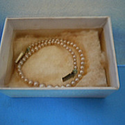 "1950's Mary Hoyer Pearl Necklace w/Box for 14"" or 18"" Gigi Hard Plastic Doll"