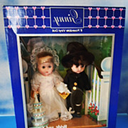 "1984 Vogue Meritus 8"" Ginny Bride and Groom Set, NRFB"