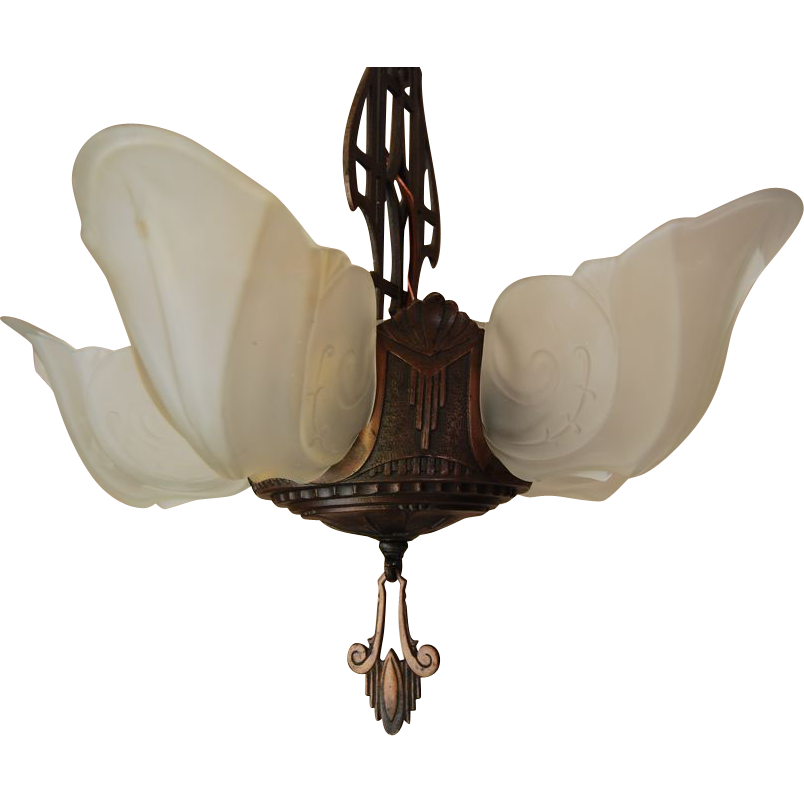 1930's Art Deco Five Light Slip Shade Chandelier Markel `Warwick' Series