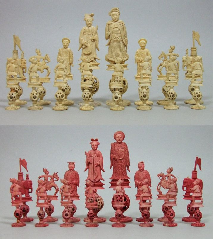 543b Antique Ivory Chess Set In Chinese Taste Images