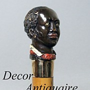 SOLD RARE Antique Carved Blackamoor Head Walking Stick