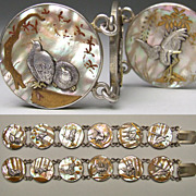 SOLD Exquisite Pair Antique Japanese MOP Silver Gold Shakudo Bracelets