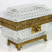 Magnificent Antique French Empire Baccarat Crystal Dore Bronze Casket