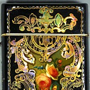 SOLD Exquisite English Hand Painted Papier Mache Etui Case