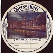 1927 Luggage Label Queen's Hotel Kandy, Ceylon