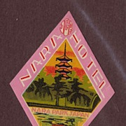 Vintage 1927 Luggage Label Nara Hotel, Nara Park, Japan