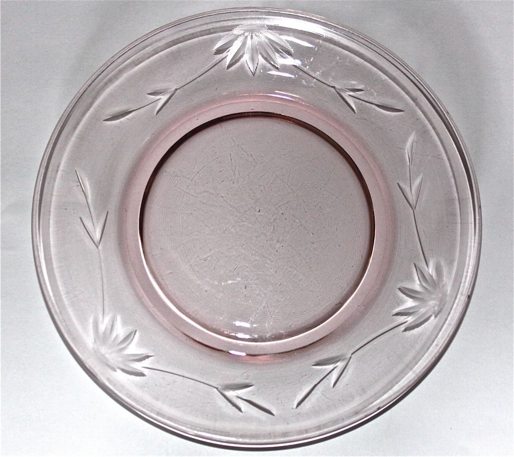 6 Pink Wheel-Cut Salad Plates circa 1930's