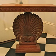 Classic Edward Wormley Pickled Mahogany Shell Console Table C. 1940