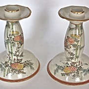 Pair of fine early 20th Century Satsuma Candlesticks hand painted