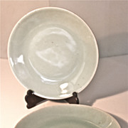 Pair of 19th Century Chinese Celadon Plates Seal Mark on Bottom