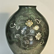 Contemporary signed Japanese Damascene bronze vase