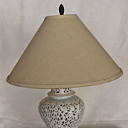Chinese Blanc de Chine Reticulated design Porcelain Table Lamp