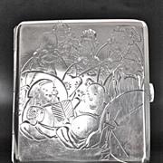 Japanese Art Deco Sterling Silver Cigarette Case