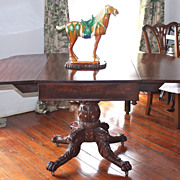 American Empire Mahogany Drop Leaf Pedestal Table