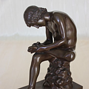 Spinario, Boy with Thorn, 19th C. Barbedienne Bronze
