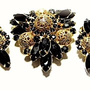 SALE Deliza and Elster Demi Parure Rhinestone Brooch and Earrings, Filigree Bookj Piece