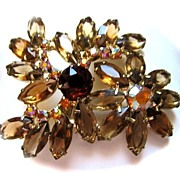 SALE Spectacular Brooch with Unfoiled Rhinestones,and Aurora Borealis Rhinestones