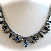 SALE Designer Style Chic Necklace of Art Glass and Rhinestones