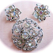 SALE Beautiful Brooch/Pin and Earring Set with Rhinestones and Aurora Borealis Rhinestones