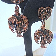 SALE Rebajes Solid Copper  Asian Motif Dangle Earrings