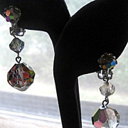 SALE Dangling Silver Tone Crystal Aurora Borealis Glass Bead Earrings