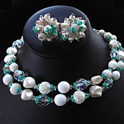 SALE Vendome  Two Strand Enamel and   Crystal Choker Necklace and Earrings Demi Parure