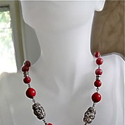 SALE Red Art Glass and Silver Tone Textured Beads Necklace