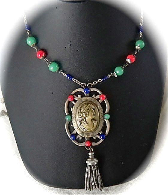 Art Deco Silver Tone Brass Cameo Red-Blue-Green Necklace-