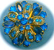 Vintage Gold Tone Blue Triple Layered Rhinestone Brooch