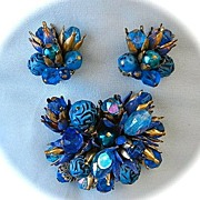 SALE Vintage  Gold Tone Carved Blue Plastic Enamel Brooch and Earrings Demi Parure Marked West