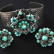 SALE Vintage Wide Silver Tone Turquoise Art Glass Floral Cuff Bracelet and Earrings- A Marriag