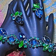 SALE Vintage Silver Tone Blue Green Art Stone Rhinestone Bracelet and Earrings Demi Parure