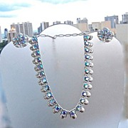 SALE Vintage Silver Tone Coro  Aurora Borealis Rhinestone Necklace Earrings Demi Parure