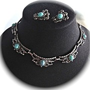 SALE Vintage Silver Tone Faux Turquoise Cabochons Necklace and Earrings- A Marriage