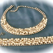 SALE Vintage Gold Tone  Clear Rhinestone Crystals Faux Pearls Necklace and Bracelet Demi Parur