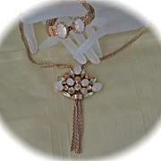 SALE Vintage  Gold Tone Pink Moonglow Yellow Rhinestone Fringe Necklace Bracelet Demi Parure