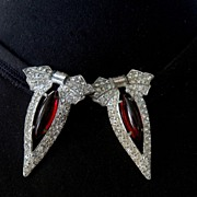 SALE Vintage Art Deco Silver Tone Red Glass Rhinestone Dress Fur Clip Set