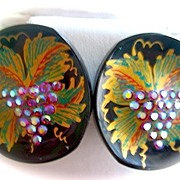 SALE Wooden Enameled and Hand Painted Earrings