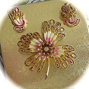 SALE Vendome Brooch/Pin Demi Parure with Pastel Enamel