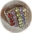 Sterling Silver Ring with Genuine Garnet, Amethyst, Peridot, Citrine Stones