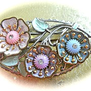 SALE 1930s Enamel Flower Brooch/Pin