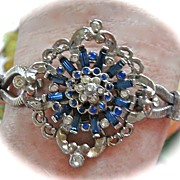 SALE Designer Art Deco Blue and Clear Rhinestone Bracelet
