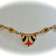 SALE Red, White, and Blue Art Deco Choker Necklace with Enamel