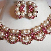 SALE Hattie Carnegie Demi Parure, Necklace and Clip Earrings with Faux Pearls, and Rhinestones