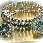 SALE Vintage 1950s Green Rhinestone Bracelet and Earrings Demi-Parure