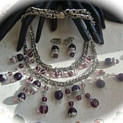 SALE Double Strand Silver  Filigree Purple Glass Necklace and Earrings Demi Parure