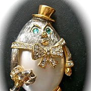 SALE Kenneth J Lane Humpty Dumpty Rhinestone Brooch