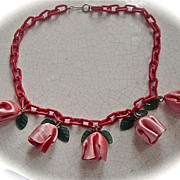 SALE Red and Green  Celluloid  Flower Chain Necklace