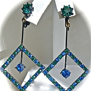 SALE Runway Peacock Japanned Dangling Rhinestone Earrings